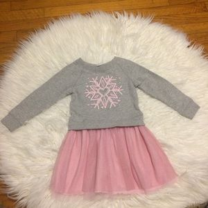 The Children's Place Gray and Pink Snowflake Dress
